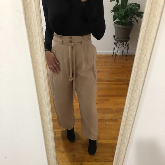 VINTAGE 90s OLIVE trouser pleated high waisted paper bag wide leg SHORTS